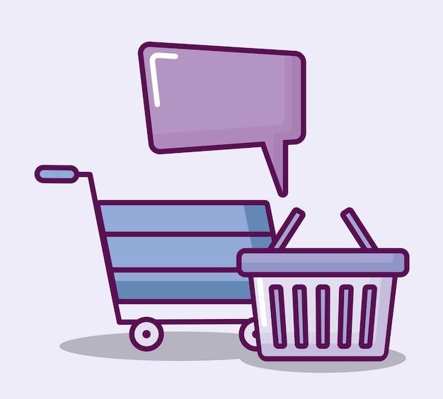 Carrito y cesta de compras e iconos de finanzas.