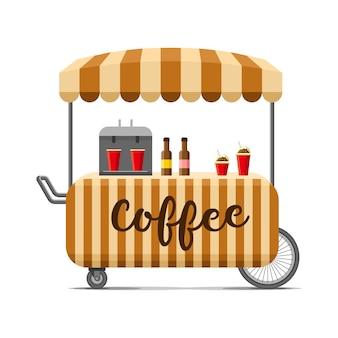 Carrito de comida callejera de café caliente. ilustración colorida, estilo de dibujos animados, aislado sobre fondo blanco.