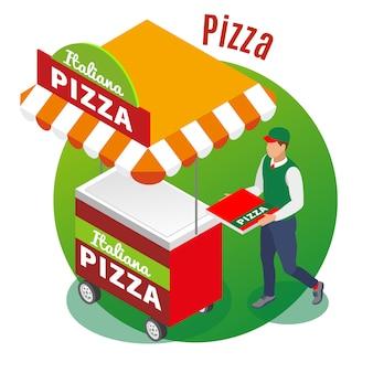 Carrito de comida callejera y vendedor de pizza en redondo verde