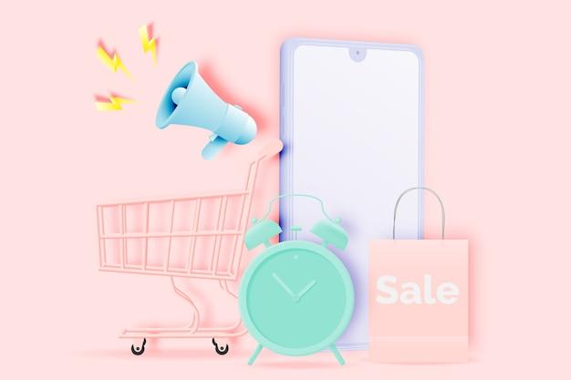 Carrito de compras para banner de venta en estilo de arte de papel y esquema pastel