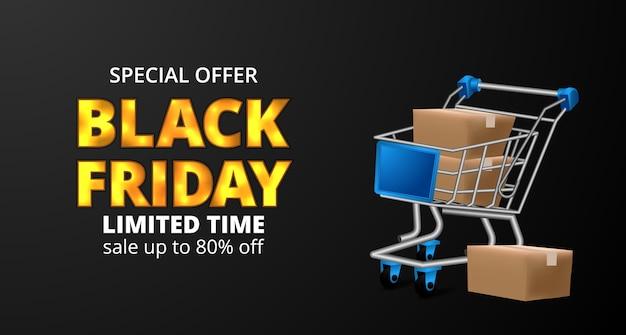 Carrito de compras con caja de paquete para banner de viernes negro