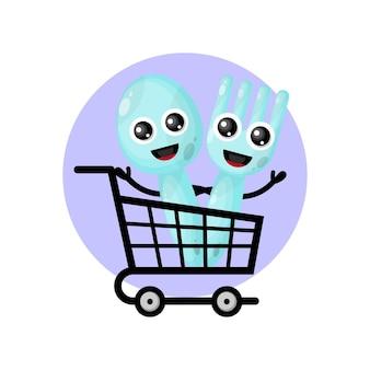 Carrito de compras, cubiertos, mascota, carácter, logotipo