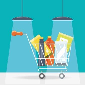 Carrito de compras con icono de productos