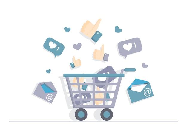 Carrito de compras lleno de me gusta, correos electrónicos y corazones planos vectoriales