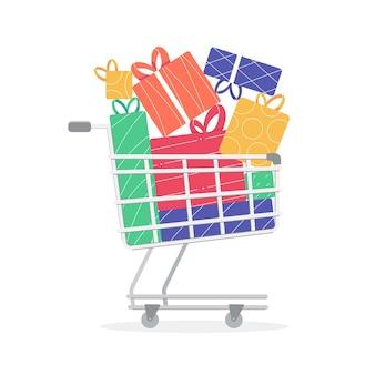 Carrito de compras con muchos regalos de navidad regalos para las vacaciones de invierno compras de navidad