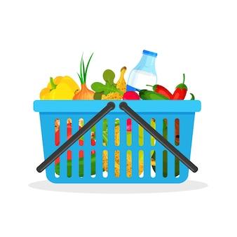 Carrito de compras de plástico azul lleno de frutas y verduras