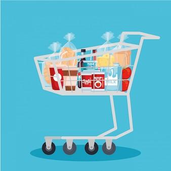 Carrito de compras con productos.