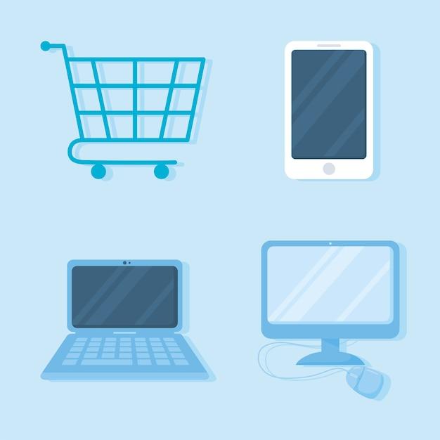 Carrito de compras, smarphone, computadora, computadora portátil, y, mouse, iconos