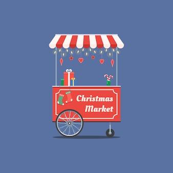 Carrito navideño con guirnalda