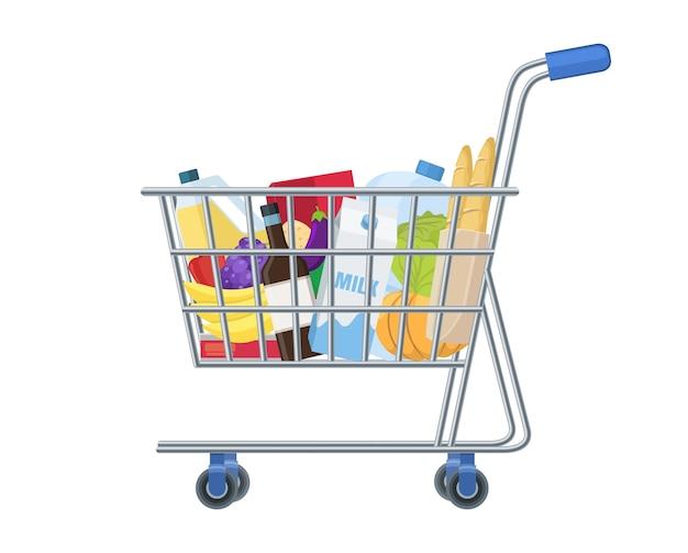 Carrito de supermercado de compras lleno de artículos