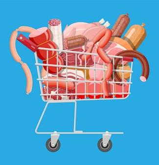 Carrito de supermercado de compras lleno de carne