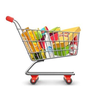 Carrito de supermercado de compras con pictograma de comestibles
