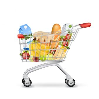 Carrito de supermercado realista lleno de artículos
