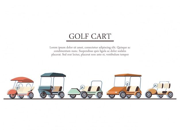 Carritos de golf set iconos