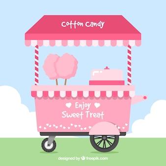 Carro de algodón de azúcar adorable en el parque