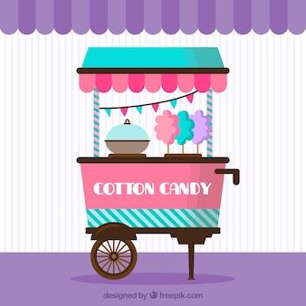 Carro de algodón de azúcar con banderitas de fiesta