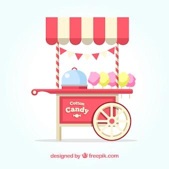 Carro de algodón de azúcar con colores típicos