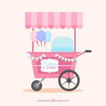 Carro de algodón de azúcar colorido con diseño plano