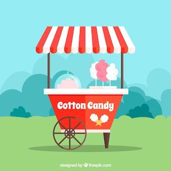 Carro de algodón de azúcar divertido en la naturaleza