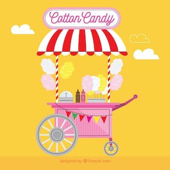 Carro de algodón de azúcar y fondo amarillo
