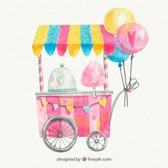 Carro de algodón de azúcar con globos en acuarela