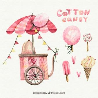 Carro de algodón de azúcar, piruleta y helados en acuarela