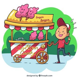 Carro de algodón de azúcar y vendedor dibujado a mano
