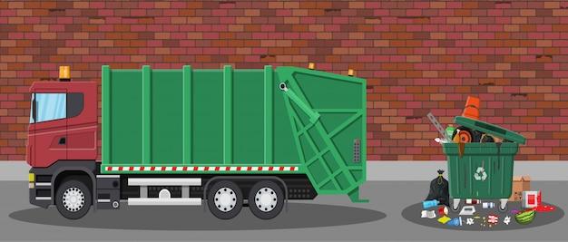 Carro de basura y basura