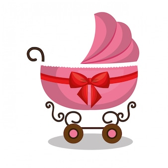Carro de bebé de icono rosa diseño