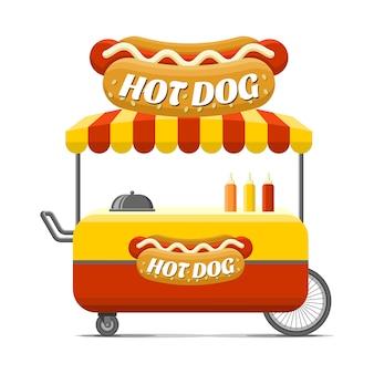 Carro de comida callejera de hot dog.