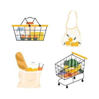 Carro de la compra de comestibles. cesta de comida de supermercado, elementos de ilustración de bolso de lona de malla y eco