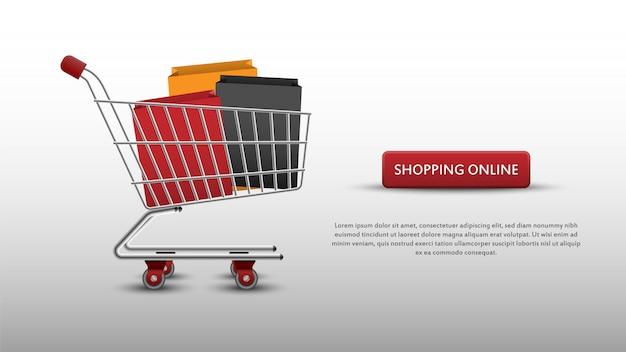Carro de compras y bolsas