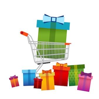Carro de compras con caja presente gran cartel de venta