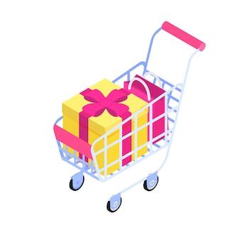 Carro de compras con icono isométrico de caja y bolsa de regalo