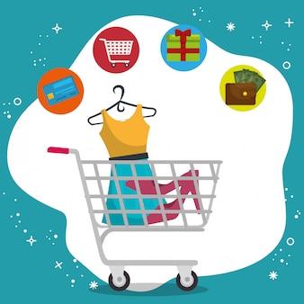 Carro de compras con los iconos de sistema de marketing