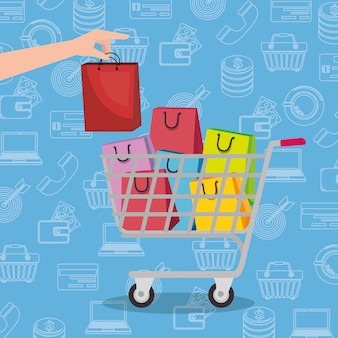 Carro de compras con los iconos de sistema de marketing
