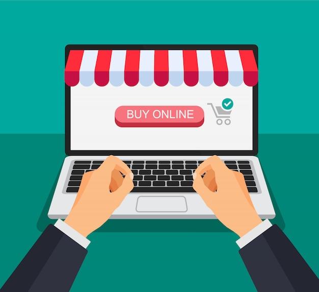 Carro de compras en la pantalla de un portátil. la mano hace clic y presiona un botón. las compras en línea. ilustración en un estilo 3d.