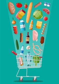 Carro de compras con productos frescos. supermercado tienda de abarrotes.