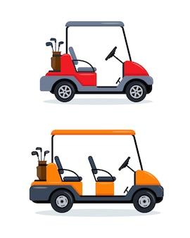 Carro de golf aislado sobre fondo blanco.