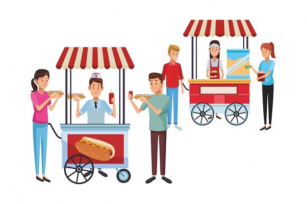 Carro de hot dog de dibujos animados