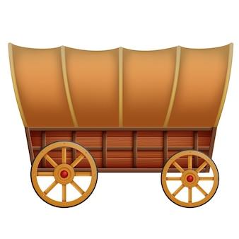 Un carro de madera sobre un fondo blanco
