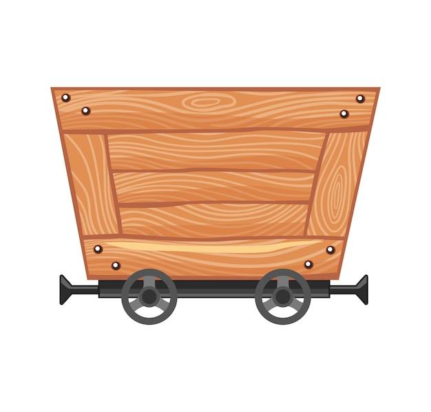 Carro de madera vacío de la mina. carro de mina de dibujos animados. ilustración de diseño vectorial aislado sobre fondo blanco.
