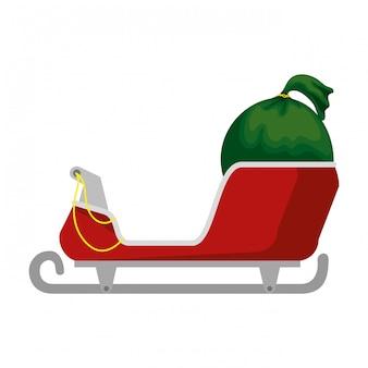 Carro de santa claus con bolsa de regalos