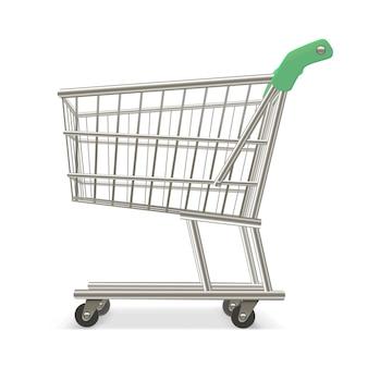 Carro de supermercado de compras vacío. equipo de comercio minorista.