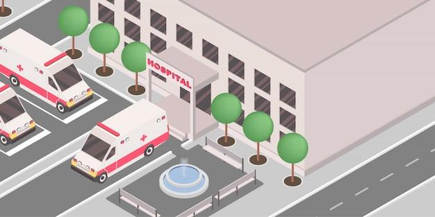 Carros de ambulancia fuera de la institución médica.
