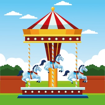 Carrusel de caballos justos sobre paisaje