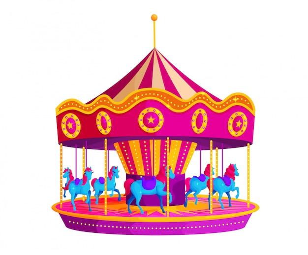 Carrusel de circo con ilustración de vector plano de caballos