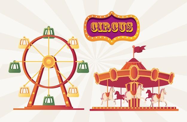 Carrusel de feria del festival e ilustración de la rueda de la fortuna