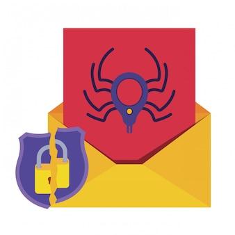 Carta abierta con araña y candado iconos aislados