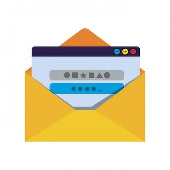 Carta abierta con iconos de mensaje de contraseña aislados